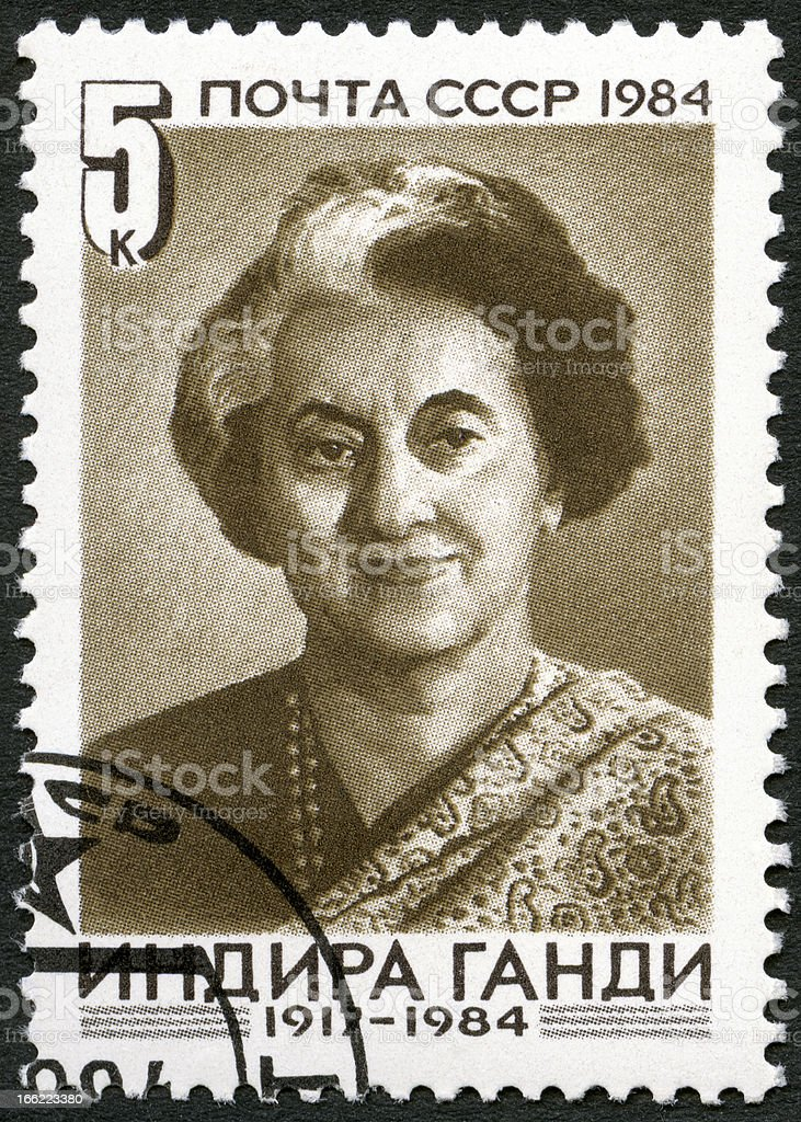 USSR 1984 shows Indira Gandhi (1917-1984), Indian Prime Minister royalty-free stock photo