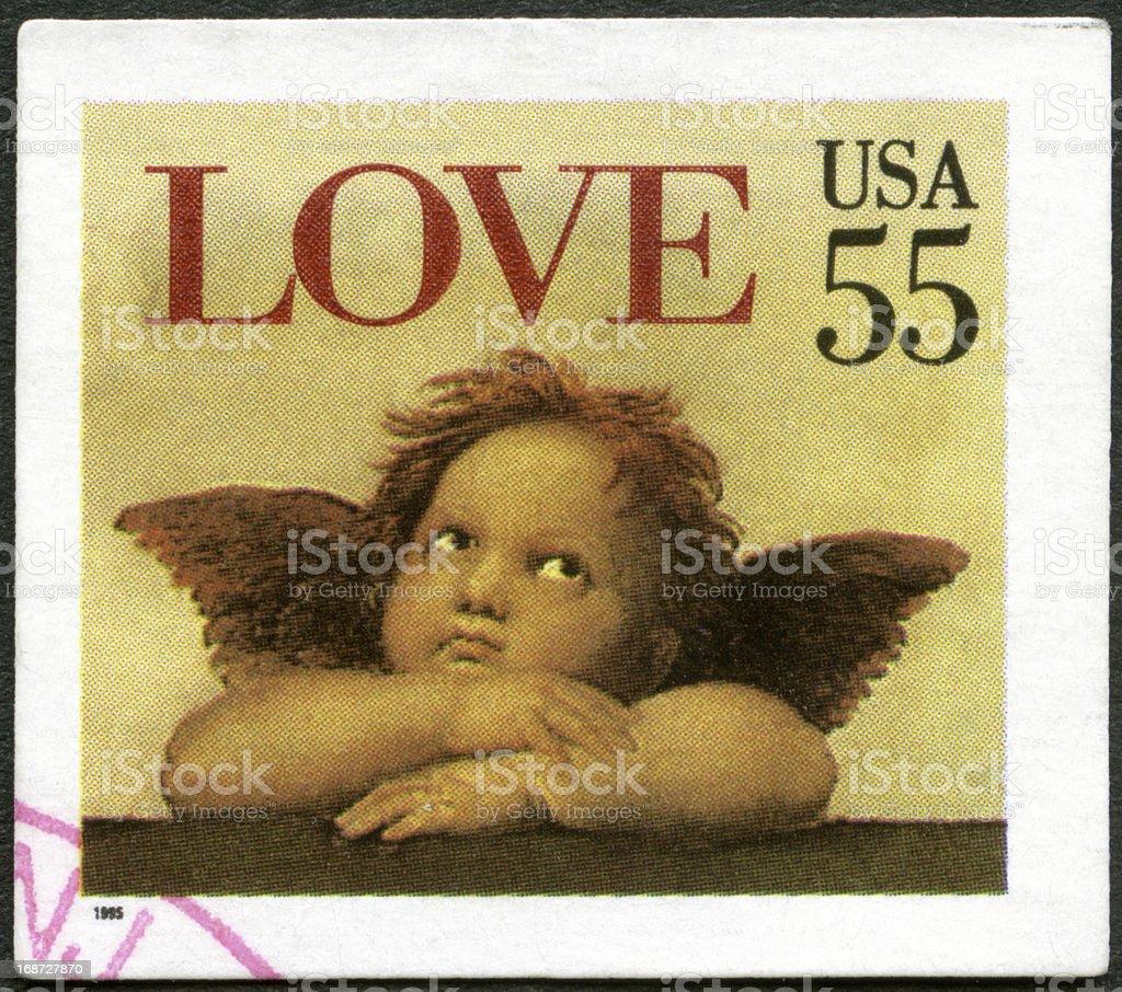 USA 1995 shows word 'love' Cherub Sistine Madonna, Raphael stock photo