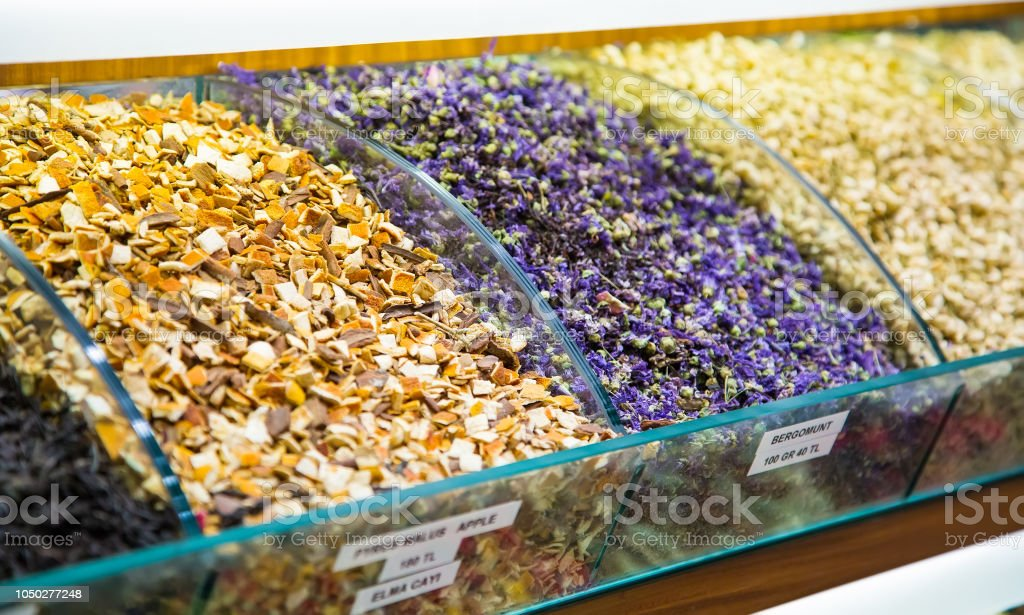 Show-window with fruit and herbal tea close up stock photo