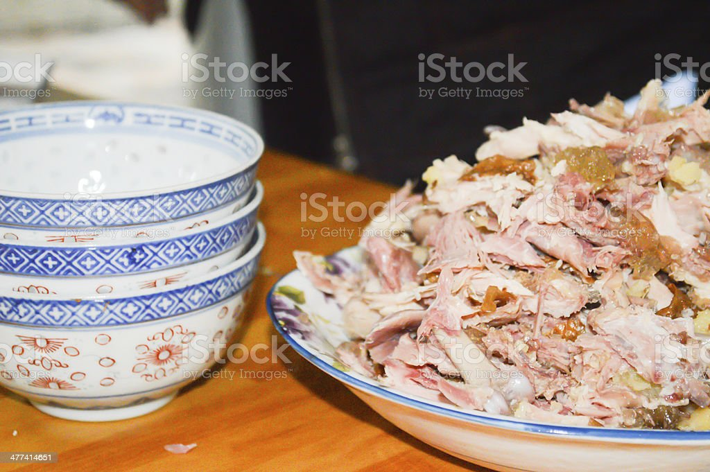 Shredded Chicken with Chinese characteristics stock photo