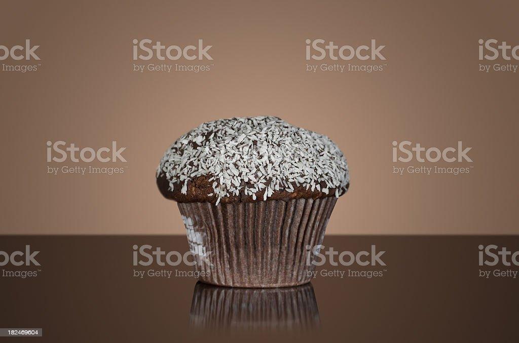 Shredded coconut chocolate muffin stock photo