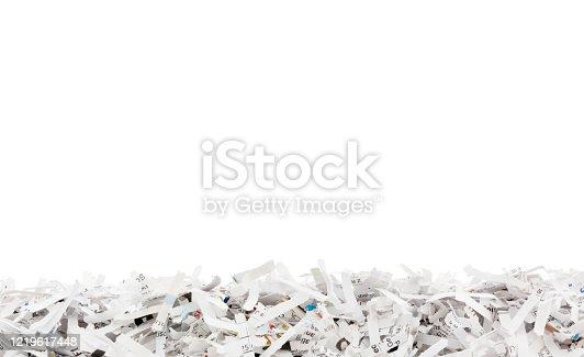 Shredded paper border isolated on white