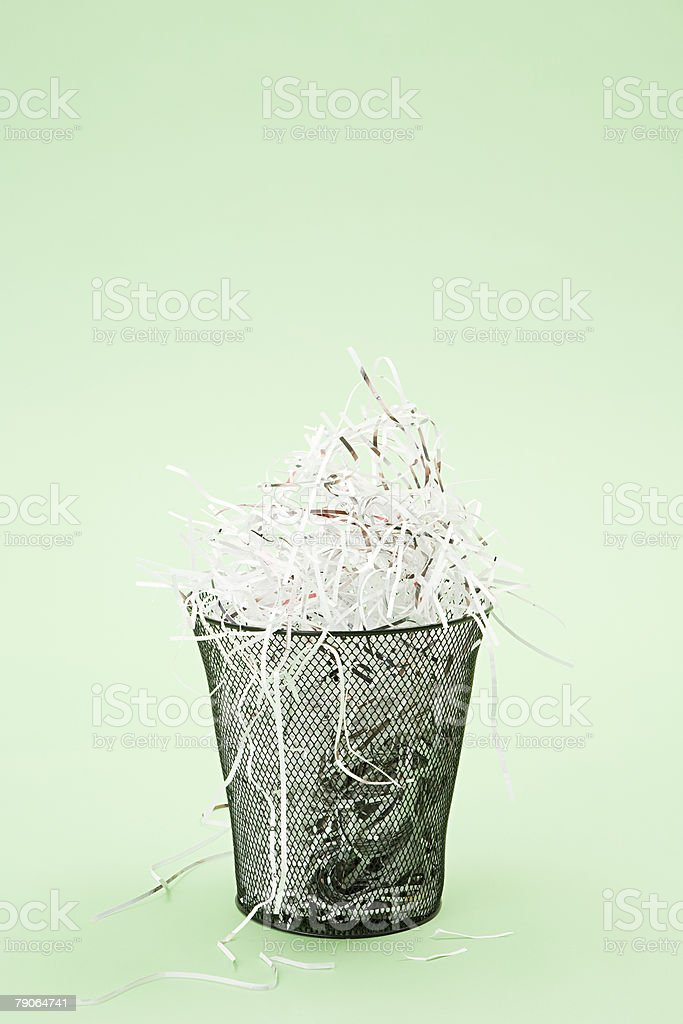 Shredded paper in a bin 免版稅 stock photo