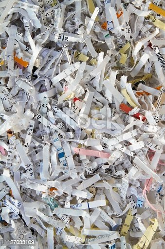 Shredded paper macro background image. Security and privacy concept.