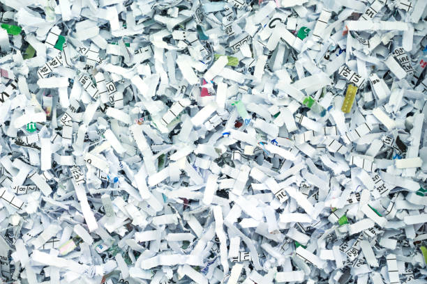 shredded paper security secret recycle background - shredded paper stock photos and pictures