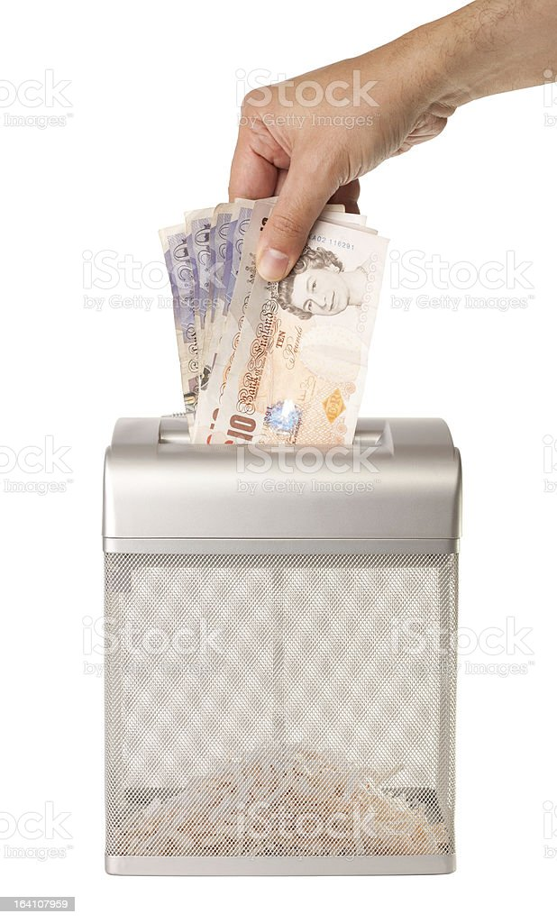 Shredding Money stock photo
