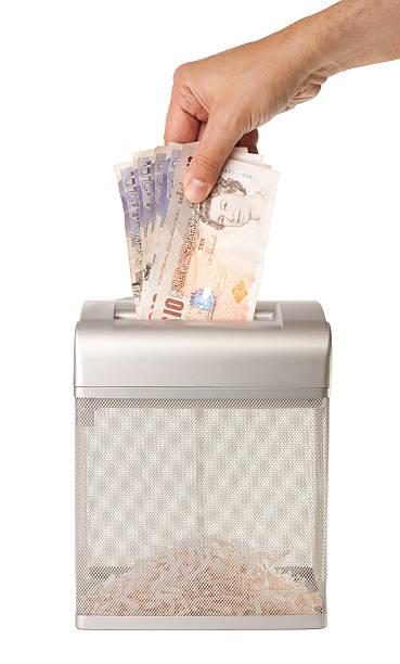 Shredding Money stock photo