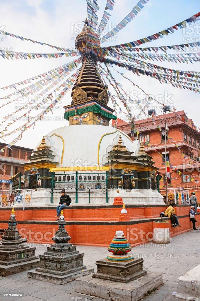 Shree Gha Buddhist Stupa in Thamel neighborhood Kathmandu Nepal stock photo