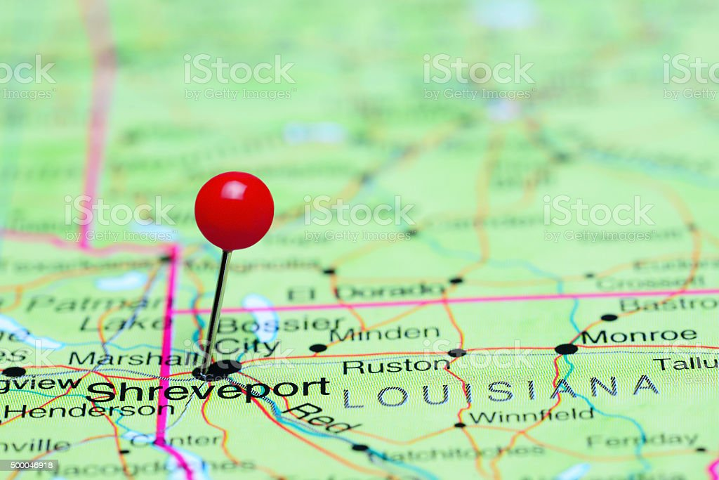Shreveport pinned on a map of USA stock photo