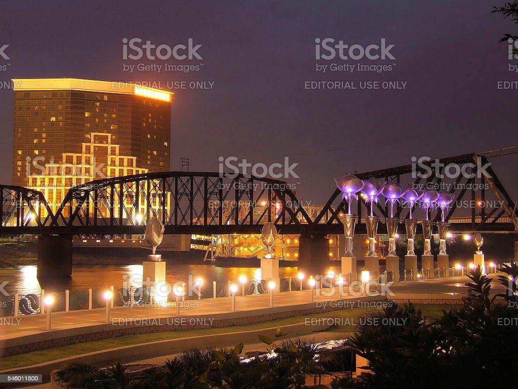 Shreveport-Bossier Twilight Lights stock photo