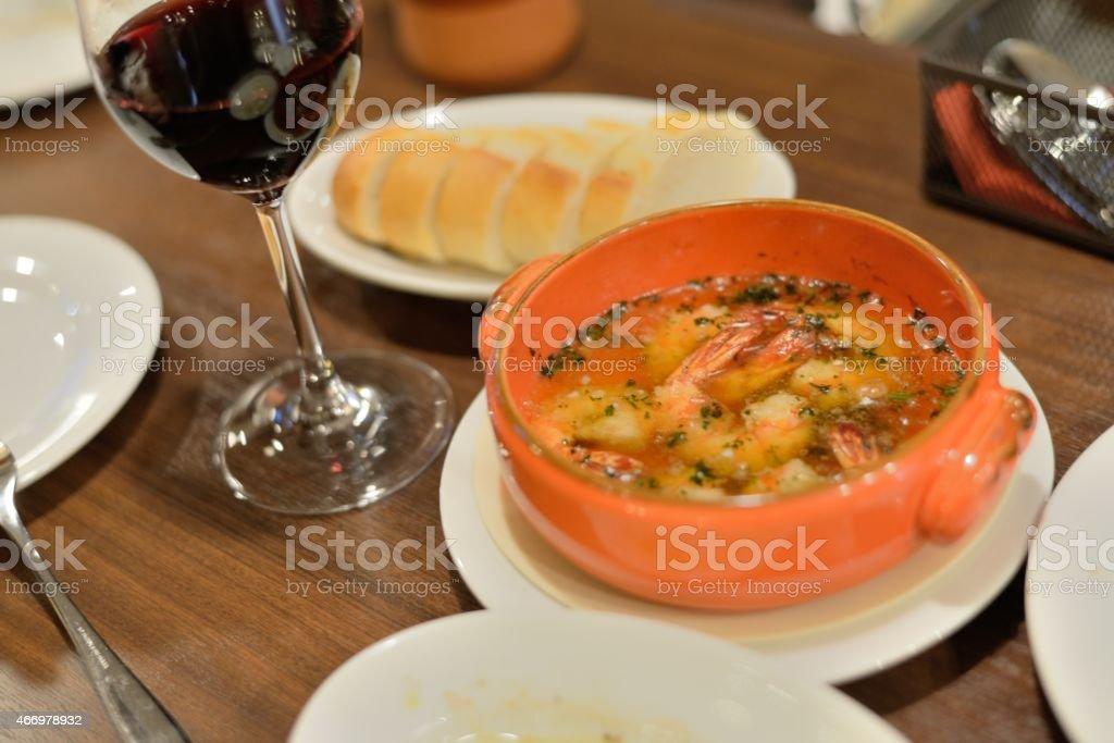 Shrimp Ajillo stock photo