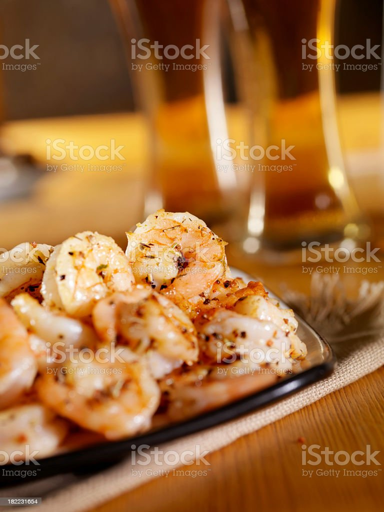 Shrimp and a Beer royalty-free stock photo