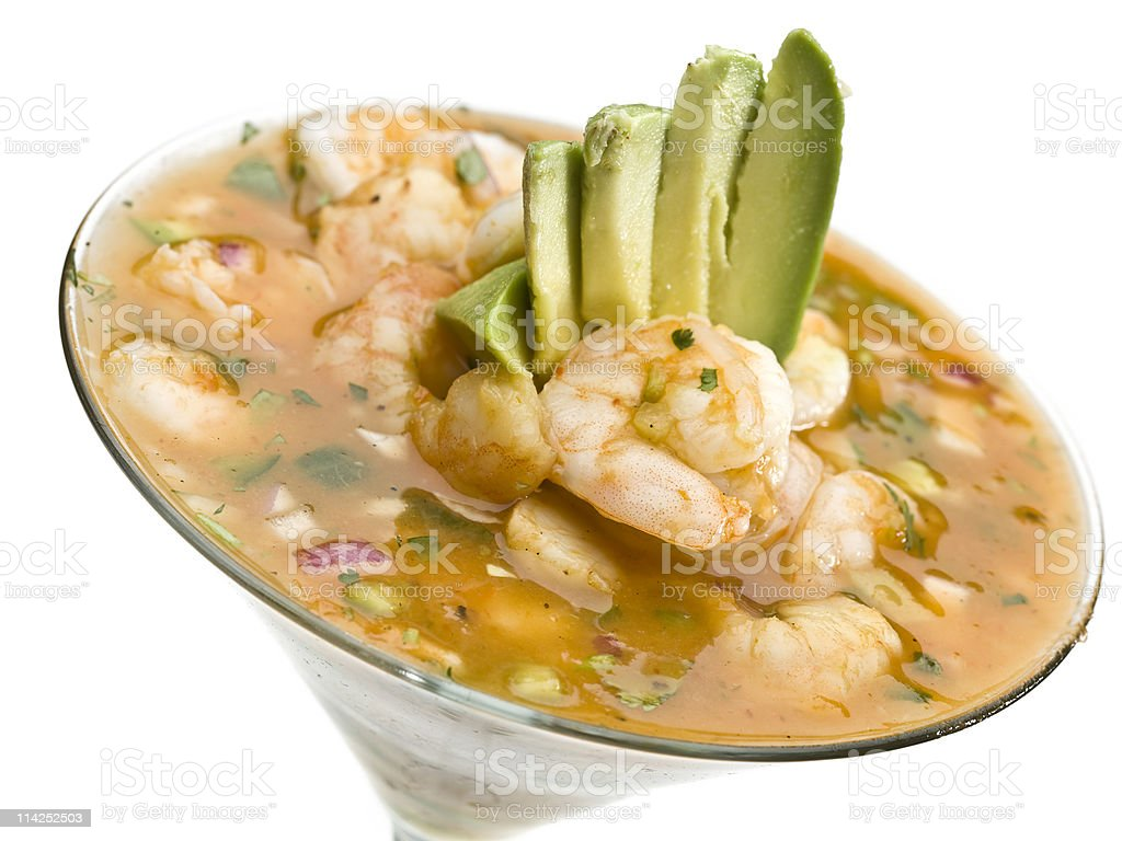 Shrimp and avocado cocktail royalty-free stock photo