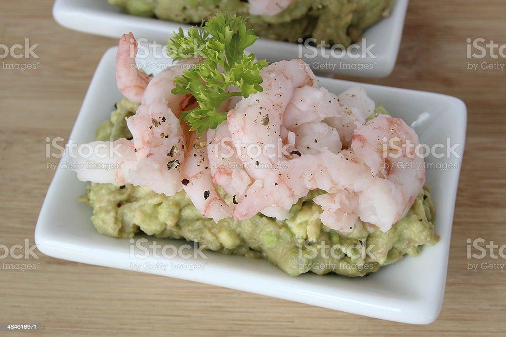 Shrimp and avocado stock photo