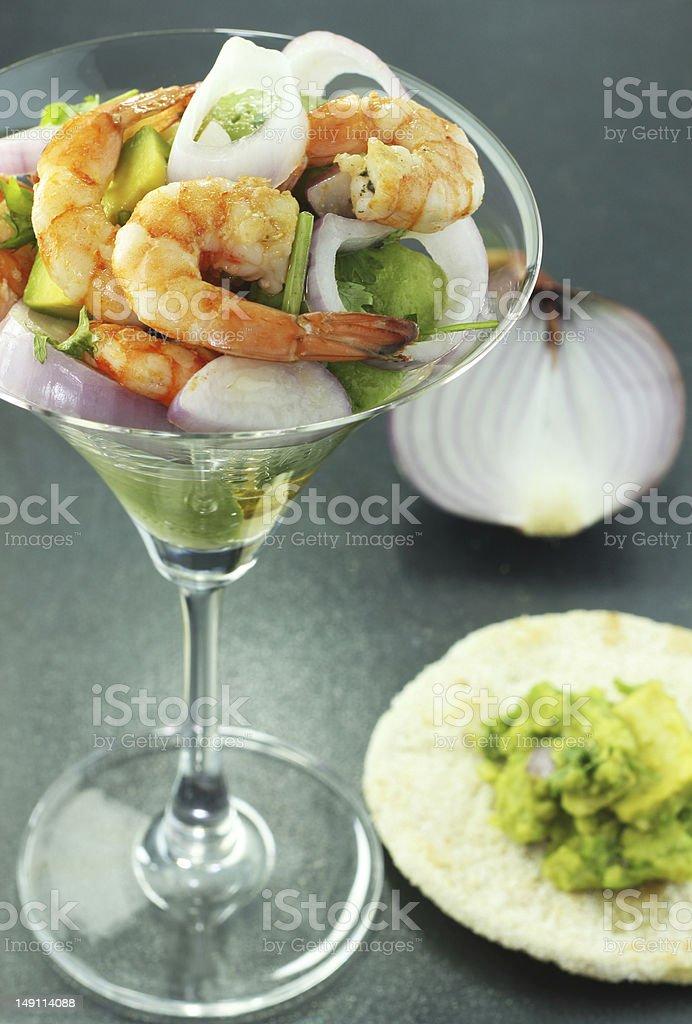shrimp and avocado salad stock photo