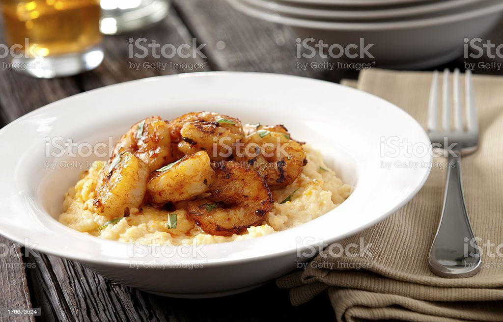 Shrimp and cheese grits royalty-free stock photo