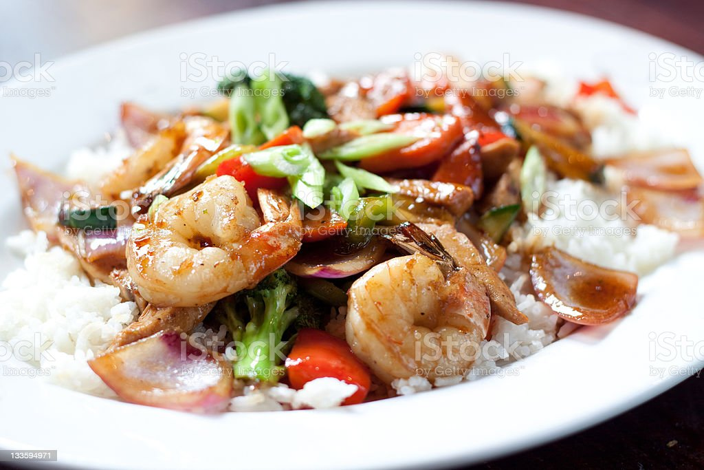 Shrimp and chicken stir fry stock photo