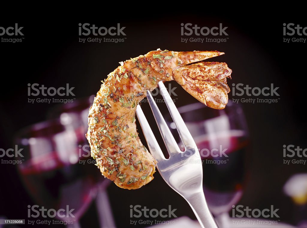 Shrimp and Fork royalty-free stock photo