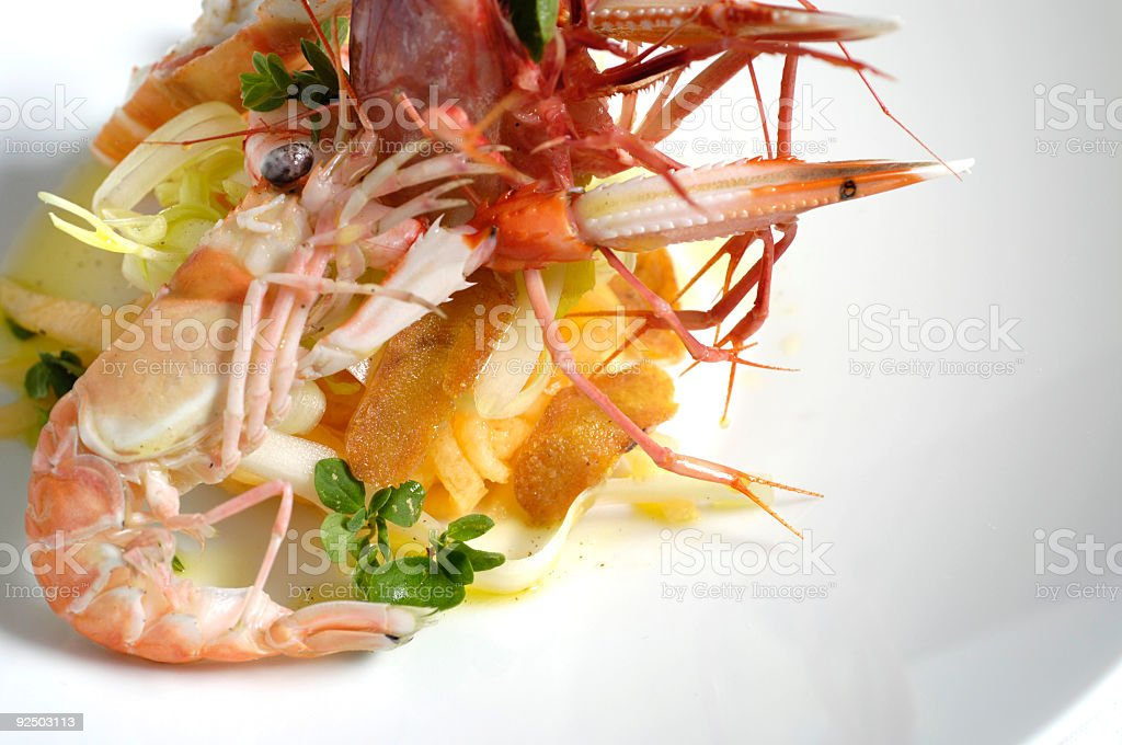 Shrimp and lobster salad royalty-free stock photo