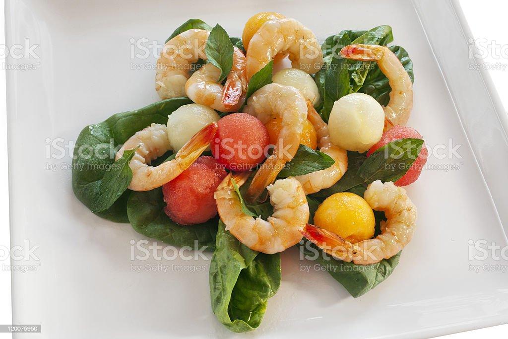 Shrimp and Melon Salad royalty-free stock photo