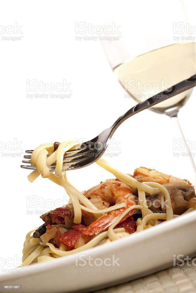 Pasta e gamberetti foto stock royalty-free
