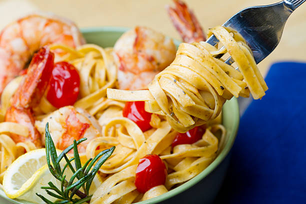 Shrimp and Pasta with Fork stock photo