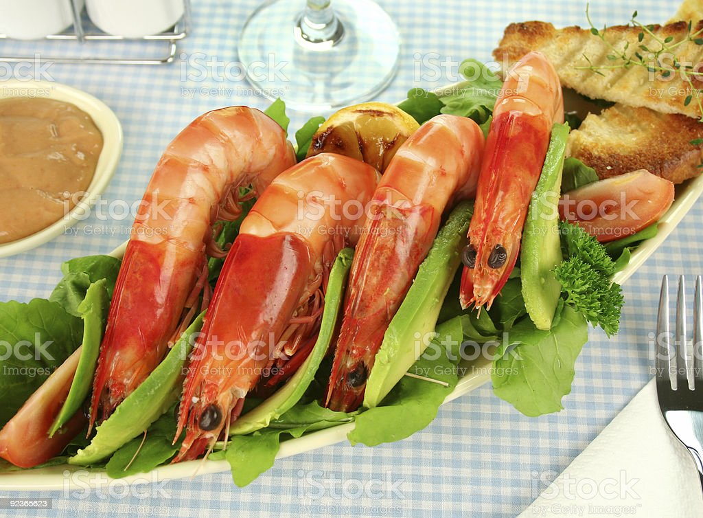 Shrimp And Rocket Salad royalty-free stock photo