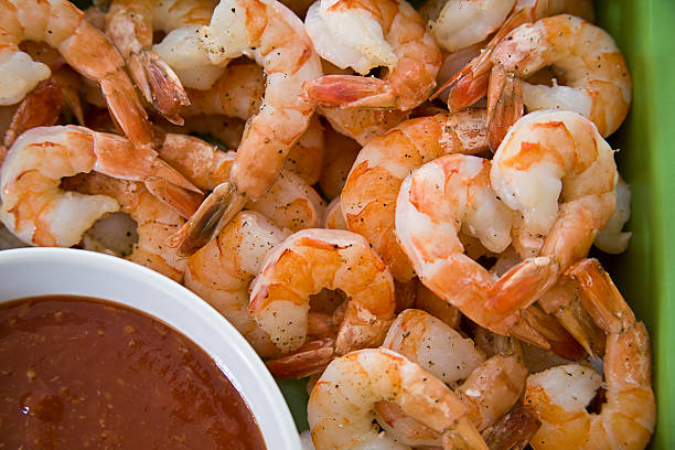 Shrimp and Sauce stock photo