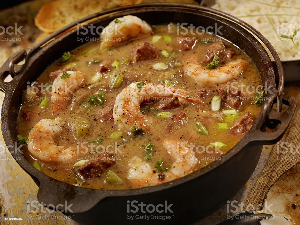 Shrimp and Sausage Gumbo stock photo