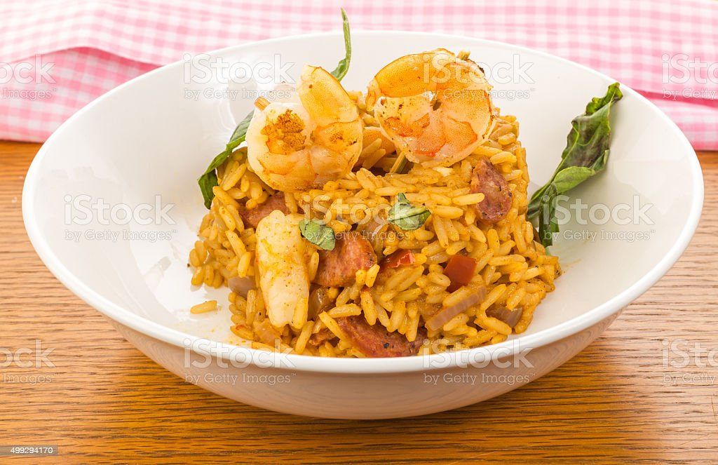 Shrimp and Sausage Jambalaya closeup stock photo