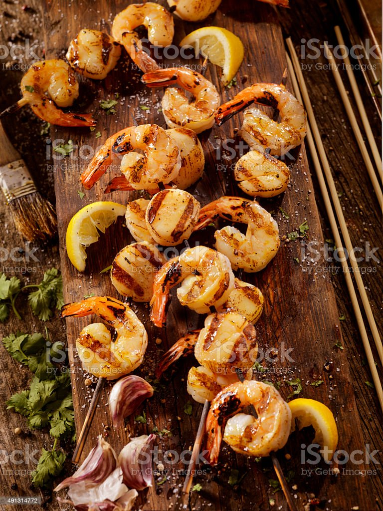 BBQ Shrimp and Scallop Skewers stock photo