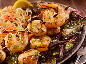 BBQ Shrimp and Scallop Skewers with Pasta