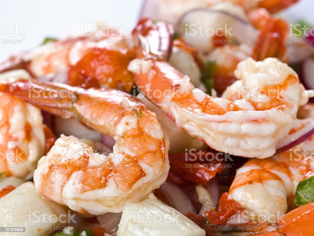 Shrimp and scallops salad stock photo
