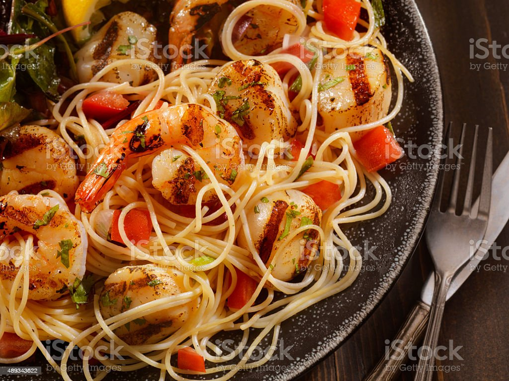 BBQ Shrimp And Scallops with Pasta stock photo