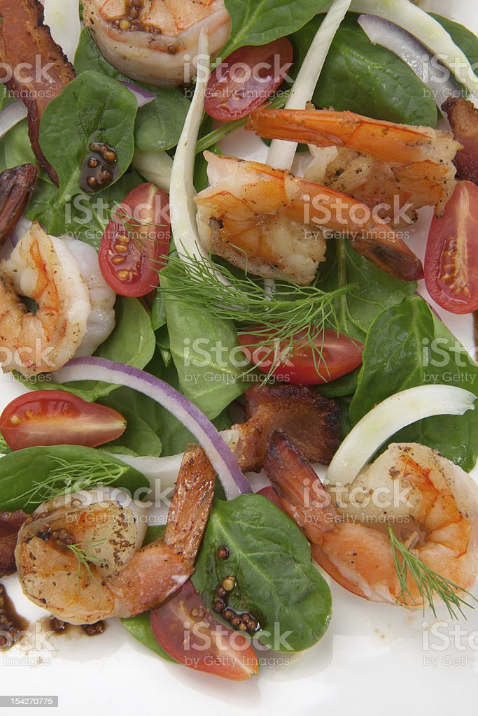 Shrimp and Spinach Salad royalty-free stock photo