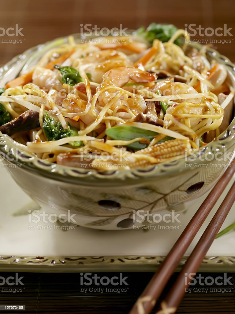 Shrimp And Vegetable Stirfry with Noodles royalty-free stock photo