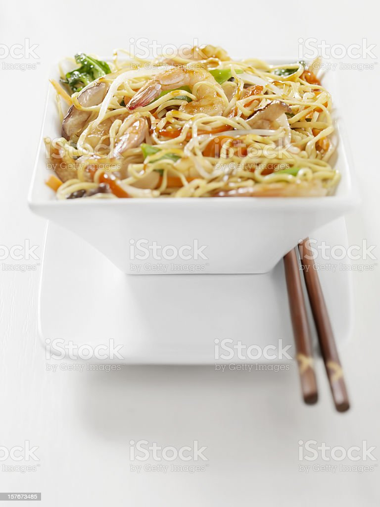 Shrimp And Vegetable Stirfry with Noodles stock photo