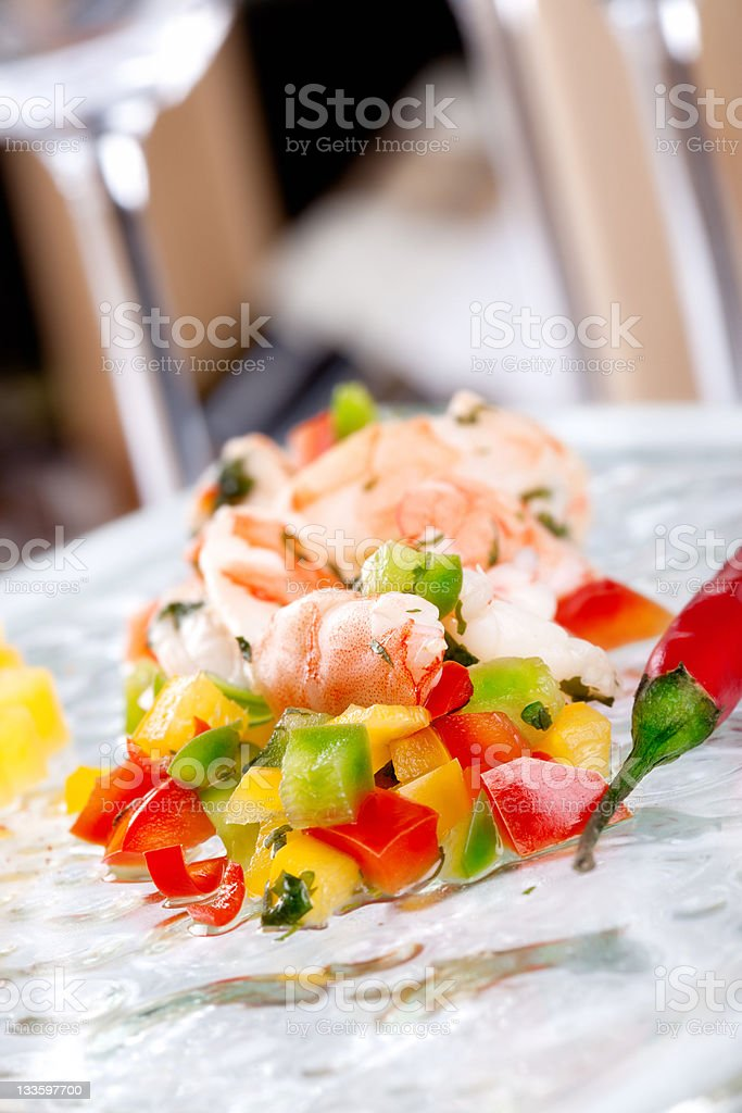 Shrimp and vegetables salad stock photo