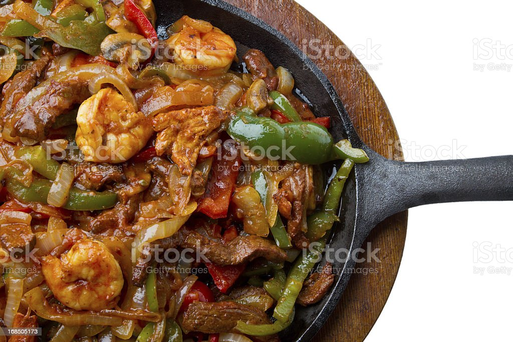 Shrimp, Beef and Chicken Fajitas royalty-free stock photo