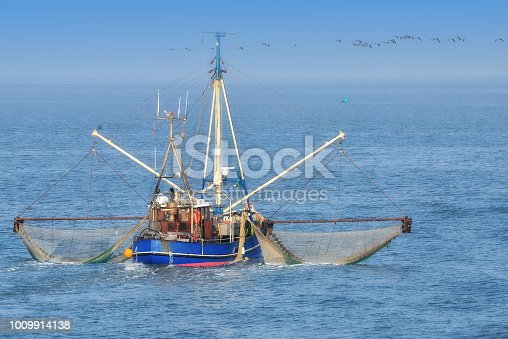 traditional Shrimp Boat at North Sea in Wattenmeer National Park,Germany