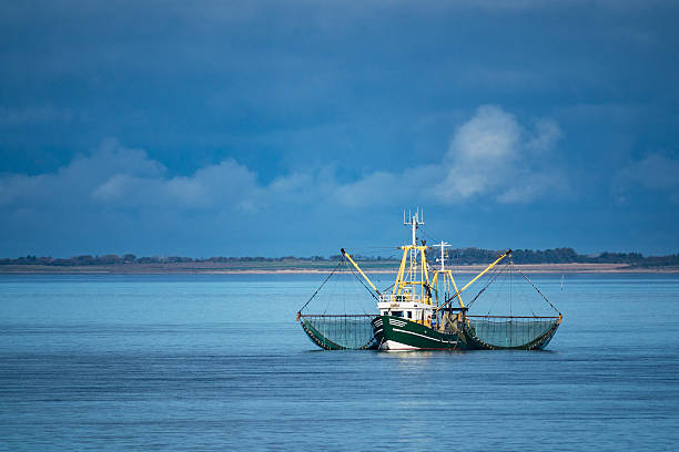 shrimp boat on the north sea - fishing boat stock pictures, royalty-free photos & images