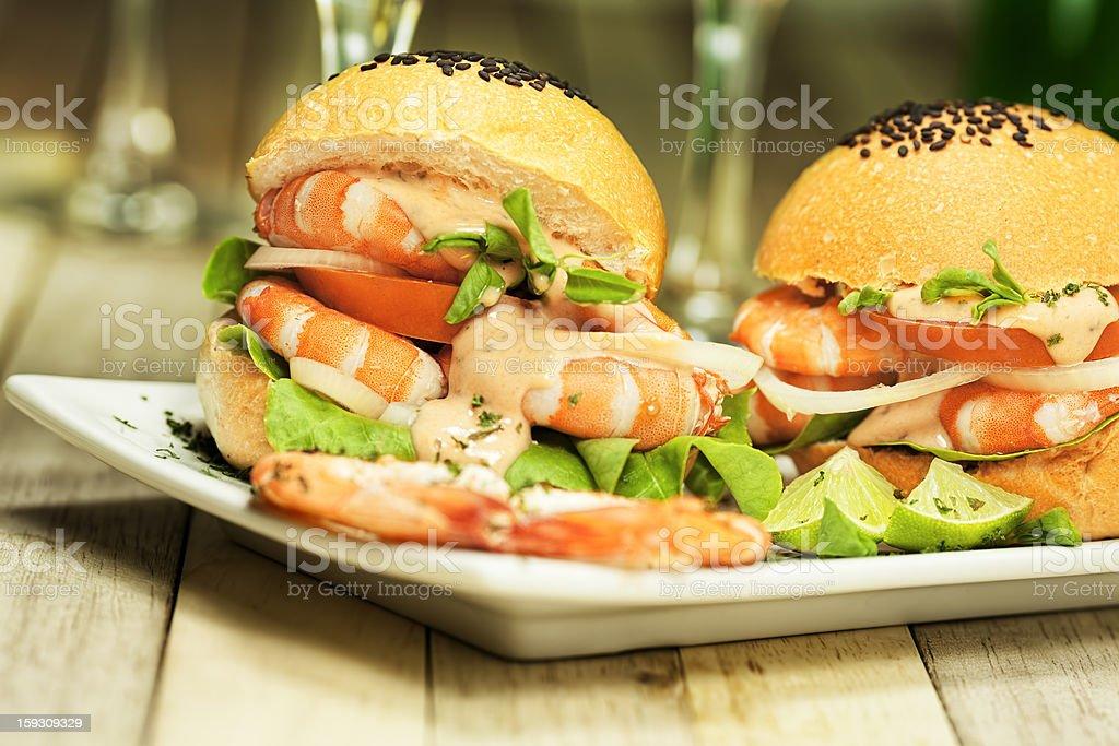 Shrimp burgers royalty-free stock photo