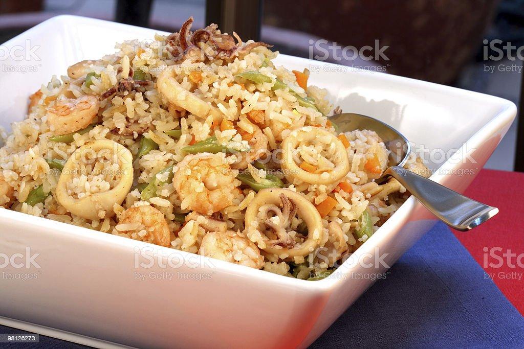 shrimp calamari  rice royalty-free stock photo