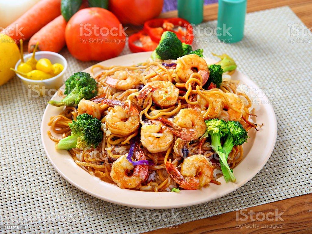 Shrimp Chow mein stock photo