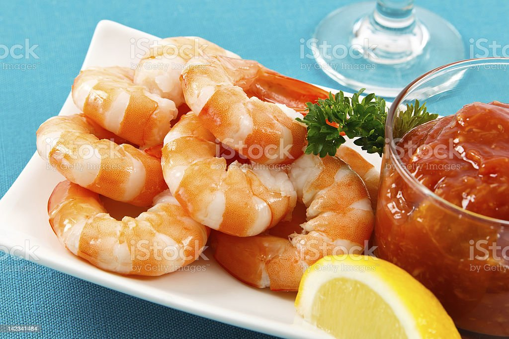 Shrimp Cocktail on Aqua Background stock photo