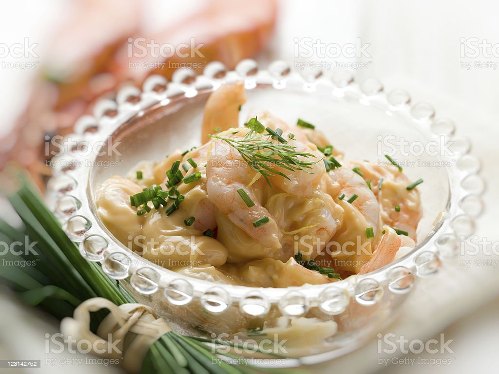 shrimp cocktail over glass bowl royalty-free stock photo