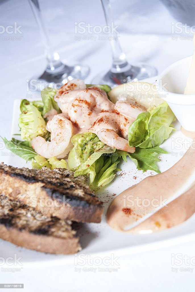 Shrimp Cocktail - Prawn Cocktail - Menu Starter stock photo