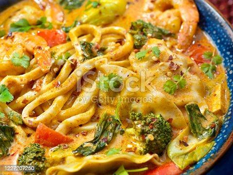 Shrimp Curry Soup with Thick Noodles, Dumplings and Vegetables