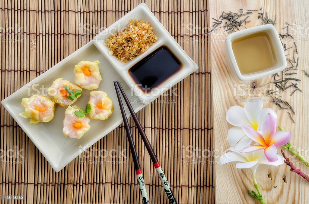 Shrimp Dumpling and Chinese tea stock photo