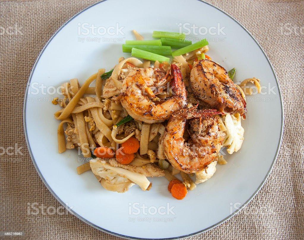 Shrimp Fettuccine Pad See Iew stock photo